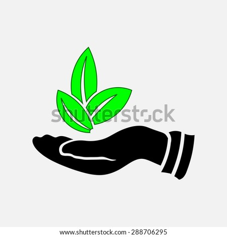 Icon leaves in his hand, the preservation of the environment, nature conservation, storage of forest, fully editable vector image - stock vector