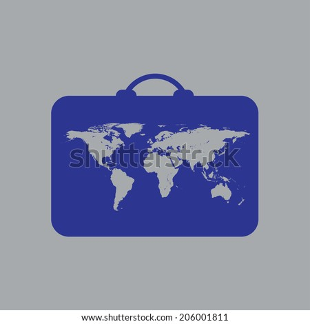 Icon luggage with world map. - stock vector