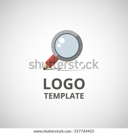 Icon magnifying glass. Search logo template. Pencil with magnifying glass investigation concept icon. EPS 10