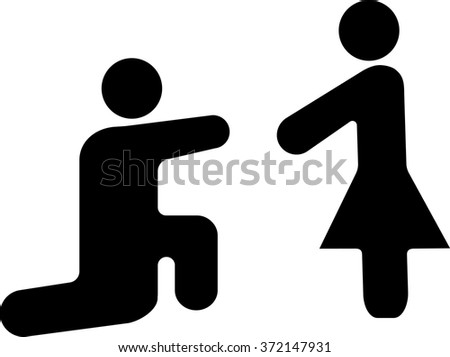 icon man and woman, man makes a proposal to the girl leave married, black vector - stock vector
