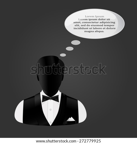 icon man in a suit with a butterfly thinks - stock vector