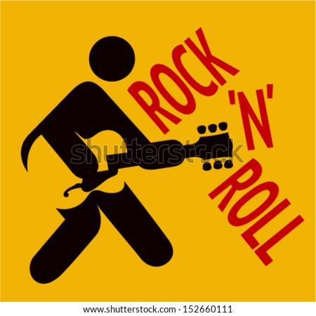 Icon man playing guitar, rock and roll sign  - stock vector