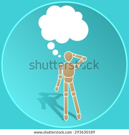 icon man thinks - stick figure with a cloud thinking - stock vector