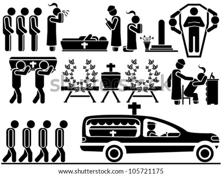 ICON MEN FUNERAL - stock vector