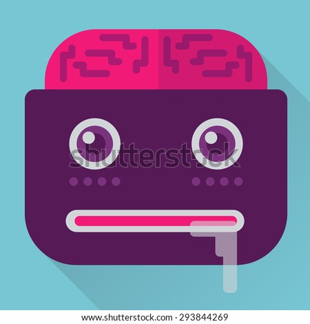 Icon Monster cartoon style. Perfect milking web design or projects for children. Made of beautiful colors in a Flat design. Perfectly fit any project. - stock vector