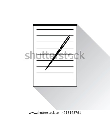 Icon notebook and pen on white background - stock vector
