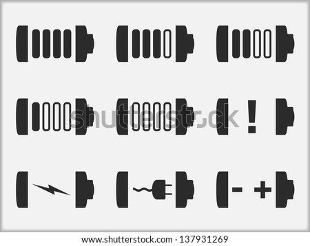 Icon of a battery in different states, vector eps10 illustration - stock vector