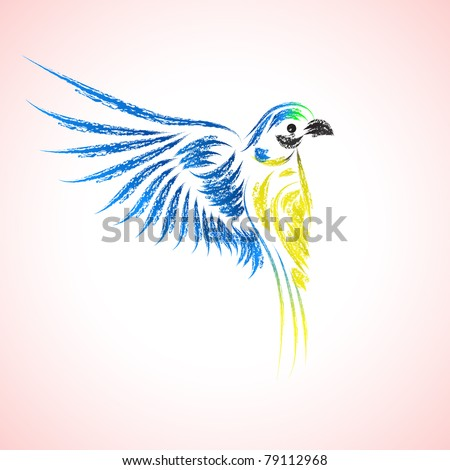 Icon of a beautiful macaw. Vector illustration. - stock vector