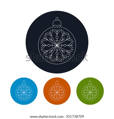 Icon of a  Christmas Ball with Snowflake ,Four Types of Colorful Round Linear  Icons Ball with Snowflake , Icon of a  Christmas Tree Decoration,  Vector Illustration - stock vector