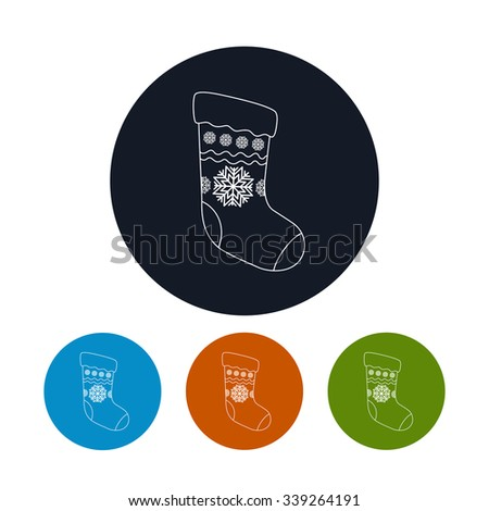 Icon of a Christmas Sock Decorated Snowflakes,  Four Types of Colorful Round Icons Christmas Sock,Christmas Decorations, Icon in Linear Style ,Vector Illustration - stock vector