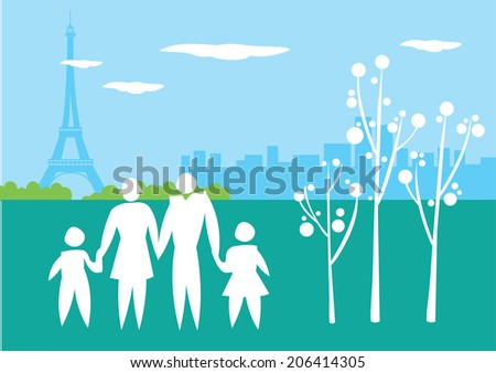 Icon of a family with Paris Eiffel Tower in background. Conceptual vector illustration for travel and lifestyle. - stock vector