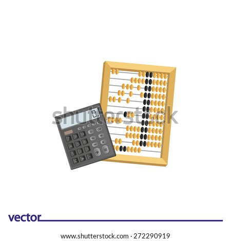 Icon of abacus and calculator. Isolated on white background. Modern vector illustration for web and mobile. - stock vector