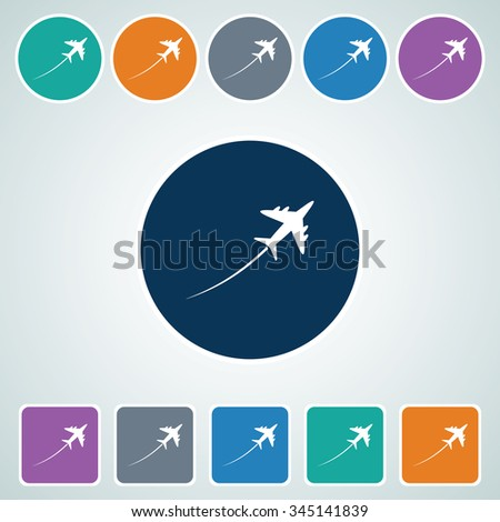 Icon of Airplane in Multi Color Circle & Square Shape. Eps-10. - stock vector