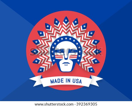 Icon of American man with Indian chief feathers on his head and inscription Made in USA. Set of symbols and design elements for Independence Day in United States of America. Vector Illustration - stock vector
