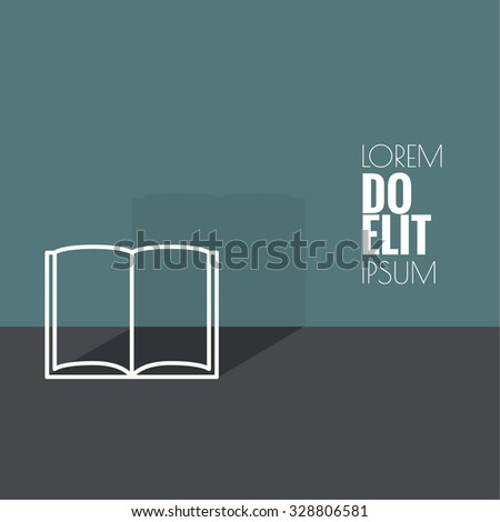 Icon of an open book. minimal. Outline.  flat design.