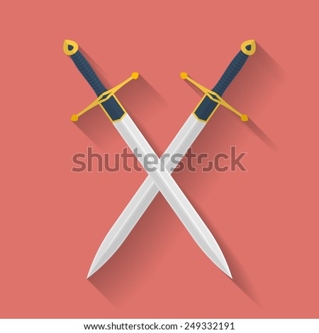 Icon of ancient swords. Flat style - stock vector