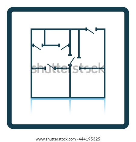 Icon of apartment plan. Shadow reflection design. Vector illustration. - stock vector