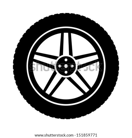 icon of automobile wheel - stock vector
