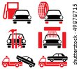 Icon of automotive tools and services. Set of two-color vector icons - stock photo