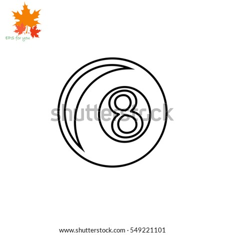 Icon of billiard ball on white background. All elements billiard ball for web design and decoration of greeting cards.