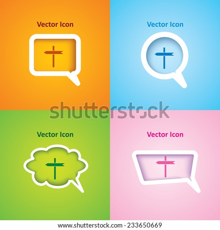 icon of blank road sign on four kinds of speech bubble with four different color beautiful background. Eps-10. - stock vector