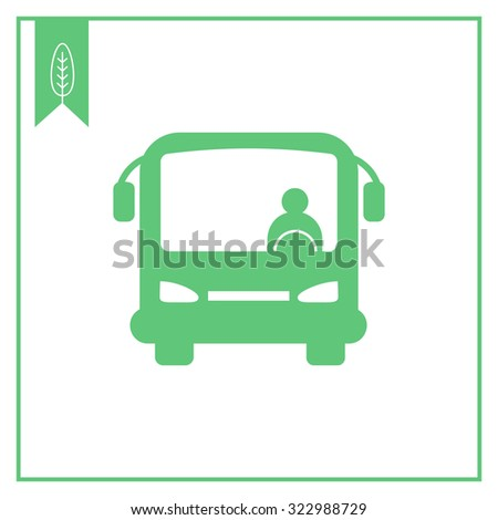 Icon of bus with bus driver, front view