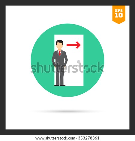 Icon of businessman figure standing at doorway with arrow direction sing