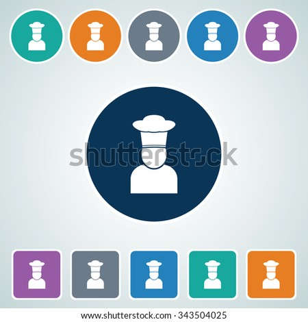 Icon of Chef in Multi Color Circle & Square Shape. Eps-10. - stock vector