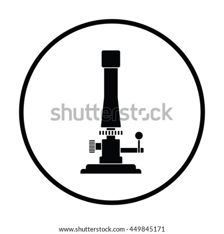 Icon of chemistry burner. Thin circle design. Vector illustration.