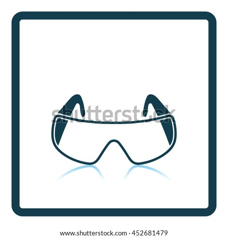 Icon of chemistry protective eyewear. Shadow reflection design. Vector illustration. - stock vector