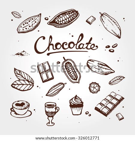 Icon of chocolate set: cacao, bean, cake, candy, cocoa, dessert, drink, hot,  powder, pudding, Design menu for restaurant, shop, confectionery, culinary, cafe, cafeteria, bar. Retro and vintage style. - stock vector