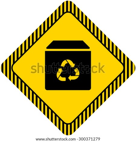 Icon of closed box with recycling sign