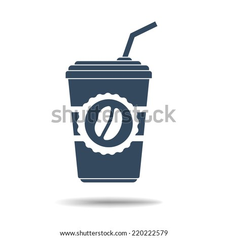 Icon of coffee glass with tube - stock vector