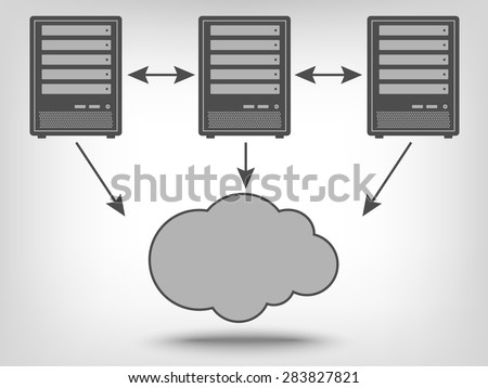 Icon of computer servers and cloud computing as a concept - stock vector