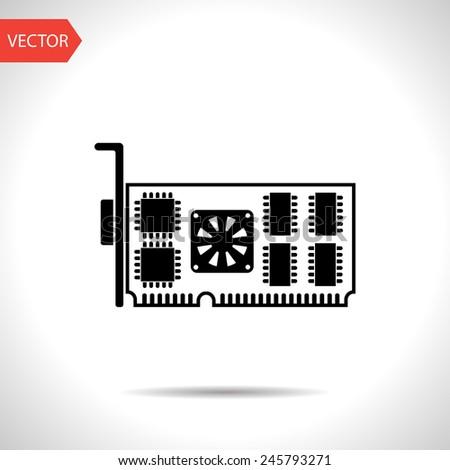 icon of computer video card - stock vector