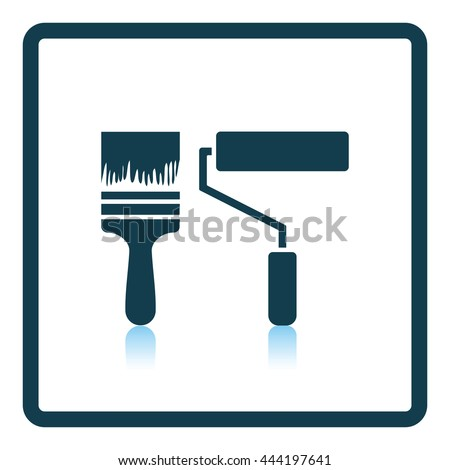 Icon of construction paint brushes. Shadow reflection design. Vector illustration. - stock vector