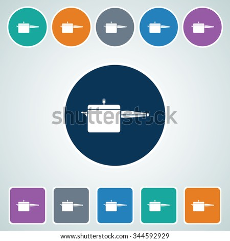 Icon of Cooker in Multi Color Circle & Square Shape. Eps-10. - stock vector