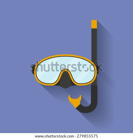 Icon of diving mask. Flat style - stock vector
