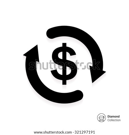 Icon of dollar sign in circle made of arrows - stock vector