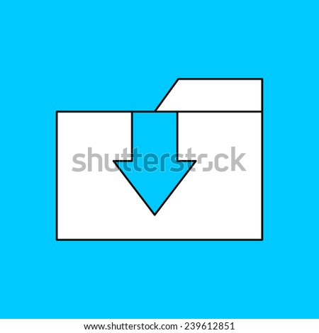 icon of download folder - stock vector