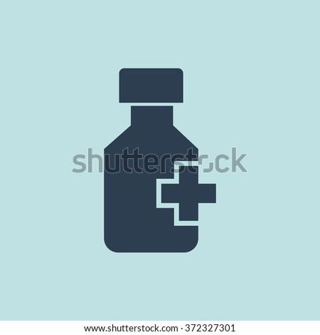 Icon of Drug Bottle & Pills. EPS-10. - stock vector