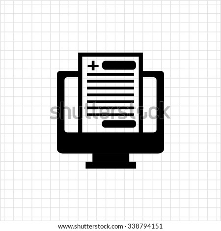 Icon of electronic health record inside computer monitor - stock vector
