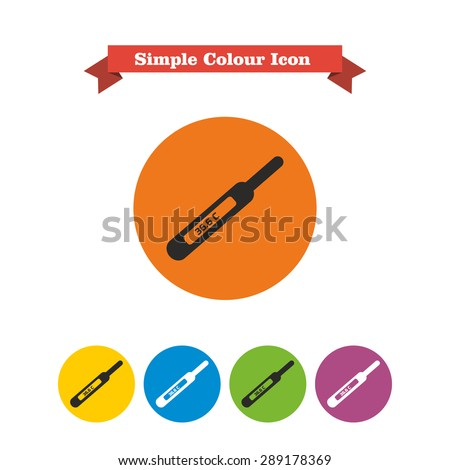 Icon of electronic thermometer with indication - stock vector