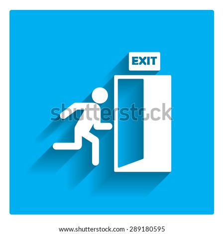 Icon of exit sign with man figure running to doorway - stock vector