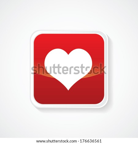 Icon of Favorite on Red Glossy Button. Eps-10 - stock vector