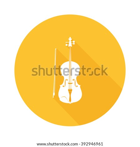 Icon of Fiddle, Vector Illustration of Violin - Orchestra Musical Instrument isolated on white. More Icons of Musical Instruments in Portfolio. - stock vector