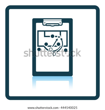 Icon of football coach tablet with game plan. Shadow reflection design. Vector illustration.
