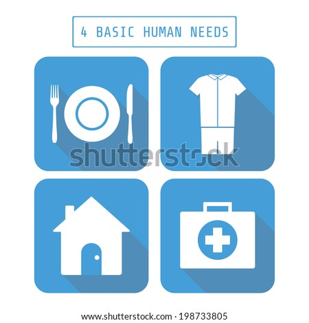 icon of four basic human needs, flat style - stock vector