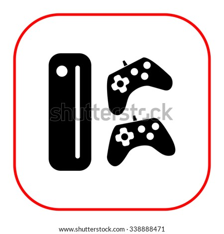 Icon of game console with two joysticks - stock vector