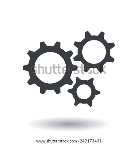 Icon of gears. Flat style.  - stock vector
